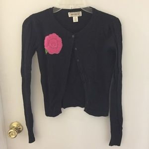 One Step Up Girls Cardigan Black Pink Flower Small